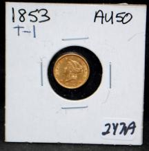 1853 $1 TYPE 1 LIBERTY GOLD COIN FROM SAFE DEPOSIT - SELLER GRADES AT AU50 (THE CURRENT COIN WORLD TRENDS LISTS AN AU50 AT $300.00)