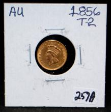 1856 $1 TYPE 2 PRINCESS GOLD COIN FROM SAFE DEPOSIT - SELLER GRADES AT AU (THE CURRENT COIN WORLD TRENDS LISTS AN AU50 AT $350.00)