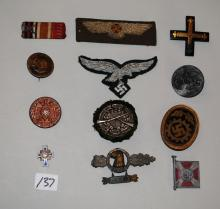 EARLY GERMAN PINS, PATCHES, RIBBONS ETC