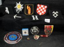 7 GERMAN UNIFORM PATCHES, 5 MISC  U.S. PINS