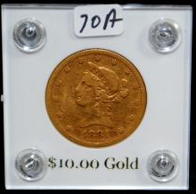1881-S $10 LIBERTY GOLD COIN FROM SAFE DEPOSIT - SELLER GRADES AT FINE (CURRENT COIN WORLD TRENDS LISTS AN VF20 @ $775.00)