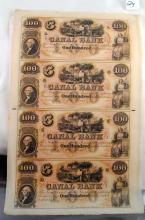 $100 UNCUT SHEET CANAL BANK NOTES - NEW ORLEANS