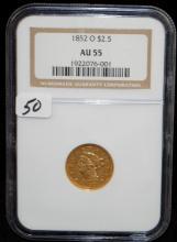SCARCE 1852-0 $2 1/2 LIBERTY GOLD COIN - NGC AU55