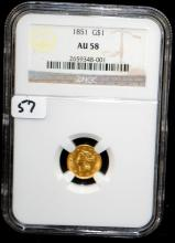 EARLY 1851 TYPE 1 GOLD COIN - NGC AU58