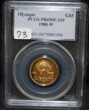 1988-W OLYMPIC $5 COMM. GOLD - PCGS PR69DCAM