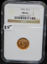 1926 $2 1/2 INDIAN GOLD COIN - NGC MS62