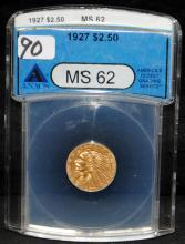 1927 $2 1/2 INDIAN GOLD COIN - ANACS MS62