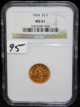 EARLY 1854 $2 1/2 LIBERTY GOLD COIN - NGC MS61