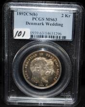 1892 CS (H) DENMARK WEDDING 2 KR - PCGS MS63