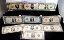 6 SILVER CERTIFICATES, 3 U.S.NOTE & ONE GOLD NOTE