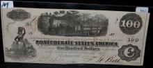 $100 CONFEDERATE STATES OF AMERICA NOTE - 1862