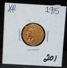 1915 $2 1/2 INDIAN GOLD COIN FROM SAFE DEPOSIT