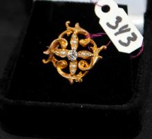 VICTORIAN 10K FILIGREE DIAMOND & SEED PEARL PIN