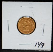 SCARCE 1868-S $2 1/2 LIBERTY GOLD COIN