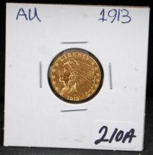 1913 $2 1/2 INDIAN GOLD COIN FROM SAFE DEPOSIT