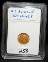 1873 (CLOSED 3) $2 1/2 LIBERTY GOLD COIN