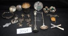 MISC VINTAGE JEWELRY, SPOONS, COIN ETC