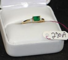 LADIES 14K YELLOW GOLD EMERALD AND DIAMOND RING, EMERALD MEASURES 6 X 4MM AND 2 DIAMONDS. THE REPLACEMENT COST IS $1,100.00. AND COMES WITH THE APPRAISAL FOR INSURANCE PURPOSES.
