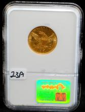 EARLY 1836 CLASSIC HEAD $5 GOLD COIN - NGC AU58