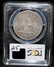 RARE 1860-0 SEATED LIBERTY DOLLAR - PCGS MS62