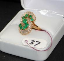 LADIES VINTAGE 18K EMERALD & DIAMOND RING