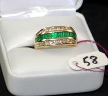 LADIES 14K EMERALD & DIAMOND FASHION RING