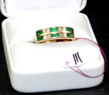 LADIES 14K DIAMOND & EMERALD FASHION BAND