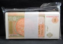 100 MONGOLIA 1 TUGRIK MINT WRAPPED NOTES