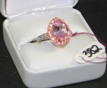 14K WHITE GOLD RING - HALO DESIGN - PINK CZ'S
