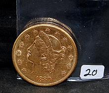 SCARCE 1880-S $20 LIBERTY GOLD COIN