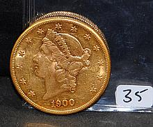 SCARCE 1900-S $20 LIBERTY GOLD COIN