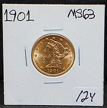 1901 $5 LIBERTY GOLD COIN FROM SAFE DEPOSIT