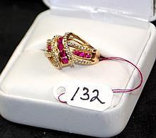 LADIES 10K YELLOW GOLD RUBY & DIAMOND RING
