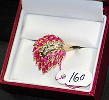 LADIES 14K YELLOW GOLD RUBY & DIAMOND RING
