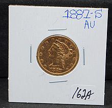 SCARCE 1887-S $5 LIBERTY GOLD COIN