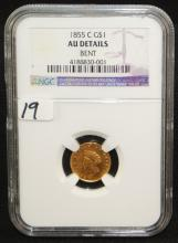 SCARCE 1855-C $1 GOLD COIN - NGC AU (DETAILS)