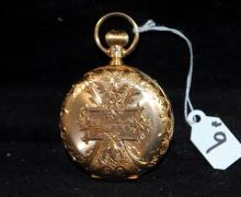 ANTIQUE 14K ORNATE HUNTERS CASE POCKET WATCH