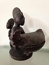 Mother and child divination Ifa Kola nut bowl