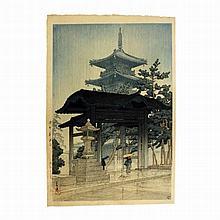 Hasui Kawase (1883-1957), Sanuki Zentsu-ji (Zentsu-ji Temple in Sanuki), Japanese woodblock print, 1946-1957