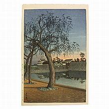 Hasui Kawase (1883-1957), Otemon, Dusk in Spring, Japanese Woodblock print, 1952