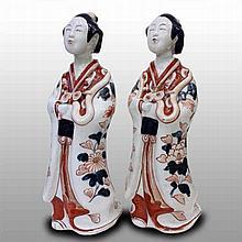 Pair of 17th century porcelain dolls, Japanese