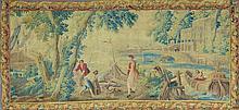 TAPISSERIE DE LA MANUFACTURE ROYALE D'AUBUSSON en laine et soie, intitulée : Lyncée et Hypermnestre régnants sur l'île d'Argos, appartenant à une série de tentures de tapisserie en quatre panneaux ayant pour titre