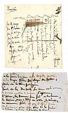 Victor HUGO. 2 MANUSCRITS autographes ; 1 page in-