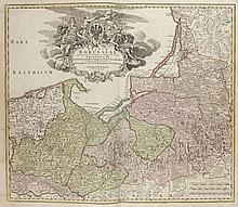 Regnum Borussiae Gloriosis auspicys Serenissimi et Potentissimi Princip Friderici III Primi Borussiae Regis March... Altkol. Kupferstichkarte. Nürnberg, bei Johann Baptist Homann, 1701. 50 x 58 cm (54 x 62 cm).