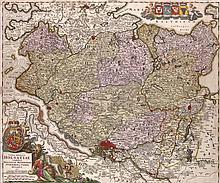 Tabula generalis Holsatiae complectens Holsatiae Dithmarsiae ... Kol. Kupferstichkarte von Johann Baptiste Homann, Nürnberg, um 1720. Plattenmaße ca. 57,3 x 47,7 cm.