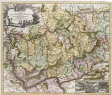 Pars Vederoviae Plurimas Ditiones Princ. et Com. Nassovicor. Kol. Kupferstichkarte. Nürnberg, Homann, um 1720. Plattenmaße ca. 49,5 x 58,5 cm.