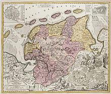 Tabula Frisiae Orientalis. Teilkol. Kupferstichkarte nach E.G. Coldewey. Nürnberg, Johann Christoph Homann, 1730. 49 x 58,4 (51,4 x 60 cm).