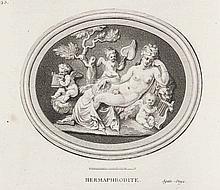 (La Chau, G. de u. G. Michel) Description des principales pierres gravées du cabinet ... le Duc d'Orléans. 2 Bde. Mit gestoch. allegor. Frontispiz, 2 gestoch. (ident.) Titelvignetten, 179 Kupfertaf. u. 58 gestoch. Kopf- u. Schlussvignetten von