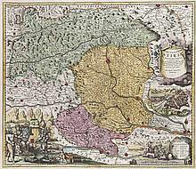 Ducatus Stiriae novissima Tabula. Teilkol. Kupferstichkarte nach M. Visscher. Nürnberg, Homann, um 1720. Plattenmaße ca. 48 x 57 cm.