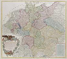 Carte de l'empire d'Allemagne. Altkol. Kupferstichkarte nach Robert de Vaugondy von C.F. Delamarche, 1792. 49,5 x 57,2 cm (55,4 x 68,8 cm).